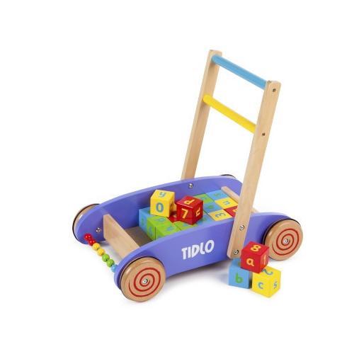 Tidlo baby loopwagen met ABC speelblokken. Vrolijke gekleurde loopwagen met 24 blokken.