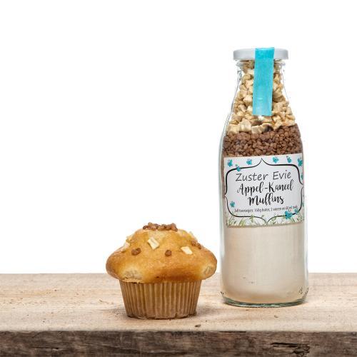 Mix voor muffins in de smaken appel/kaneel, met stroopwafelstukjes en pure en witte bakvaste chocolade