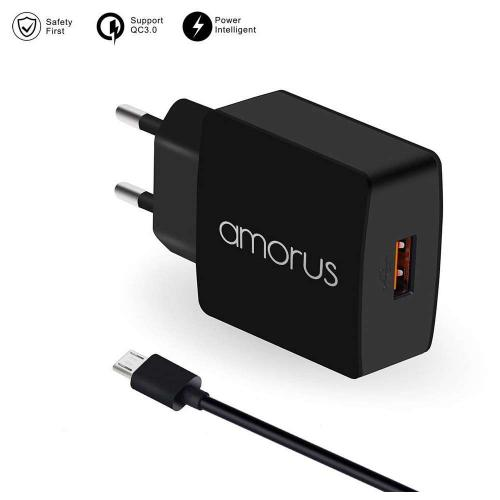 Amorus Quick Charge 3.0 Oplader met Micro USB kabel