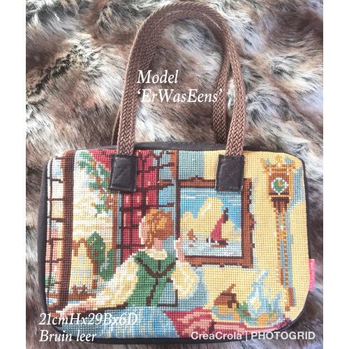 Nieuwe originele handmade tas + borduurwerk 'Dame bij het venster' van bekende schilder