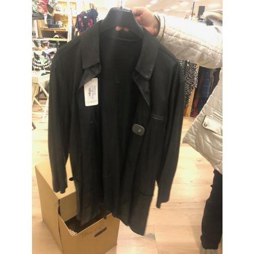 zwarte leren jas langer model