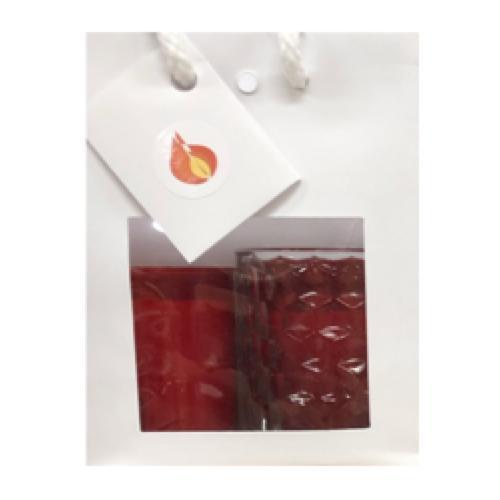 Luxe gift tas met glazen kaarshouder en 2 refill kaarsen.