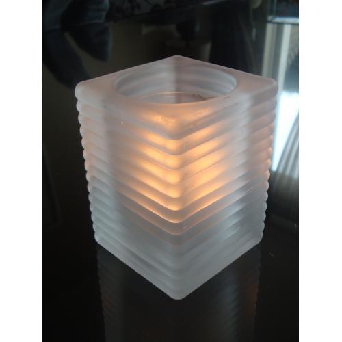 High light horeca glazen vierkant divere kleuren met gratis refill kaars naar keuze.