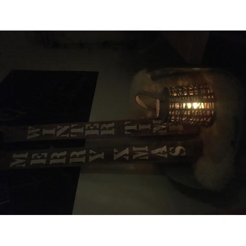 Plank Merry x mas/wintertime en jute windlicht