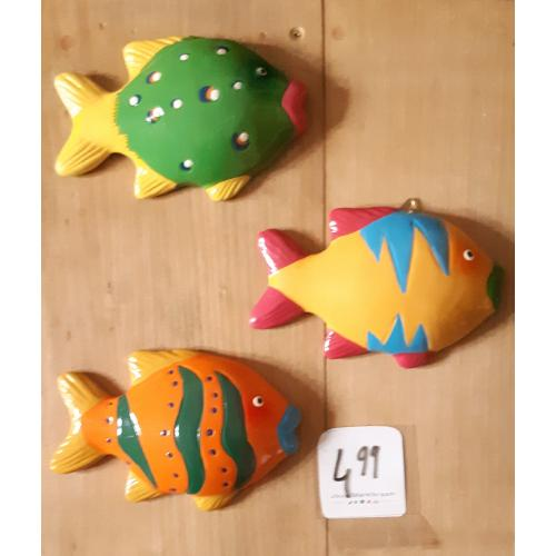 3 kleurige vissen keramiek