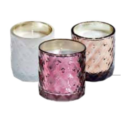 Unscented candle in textured glass